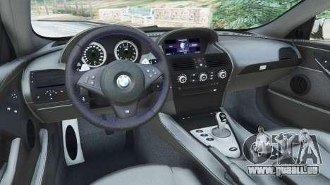 GTA 5 BMW M6 (E63) WideBody v0.1 hinten rechts