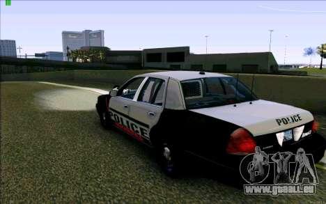 Weathersfield Police Crown Victoria für GTA San Andreas zurück linke Ansicht