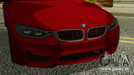 BMW M4 Coupe 2015 pour GTA San Andreas vue arrière