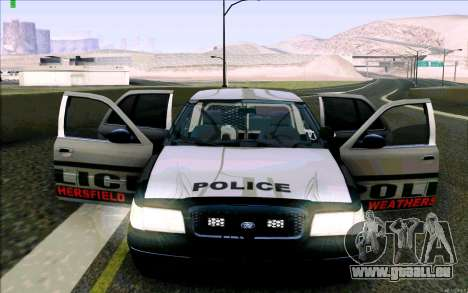 Weathersfield Police Crown Victoria pour GTA San Andreas salon