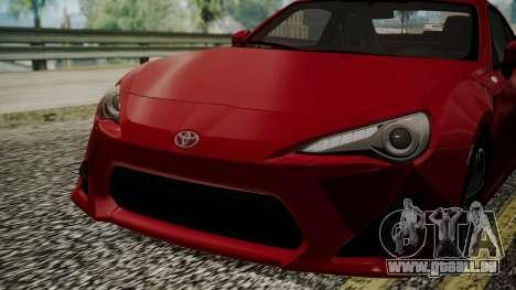 Toyota GT86 2012 LQ pour GTA San Andreas vue intérieure