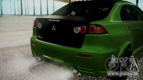 Mitsubishi Lancer Evolution X WBK für GTA San Andreas Seitenansicht