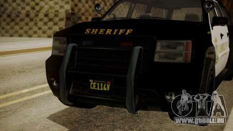 GTA 5 Declasse Granger Sheriff SUV für GTA San Andreas Rückansicht