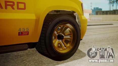 GTA 5 Declasse Granger Lifeguard pour GTA San Andreas sur la vue arrière gauche