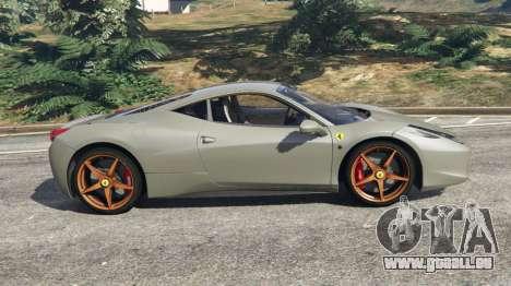 GTA 5 Ferrari 458 Italia 2009 v1.4 vue latérale gauche