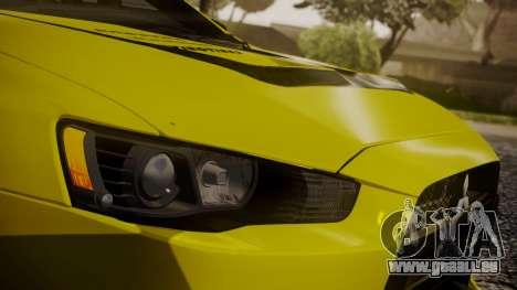 Mitsubishi Lancer Evolution X 2015 Final Edition pour GTA San Andreas vue de dessus