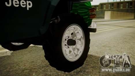 Jeep Willys Cafetero pour GTA San Andreas sur la vue arrière gauche