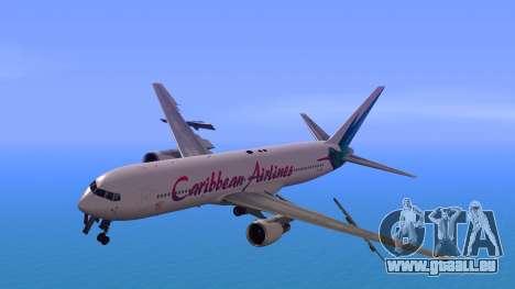 Boeing 767-300 Caribbean Airlines pour GTA San Andreas sur la vue arrière gauche