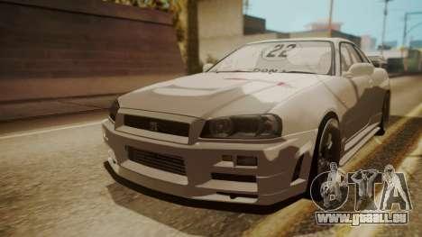 Nissan Skyline R34 FnF 4 v1.1 für GTA San Andreas Innenansicht