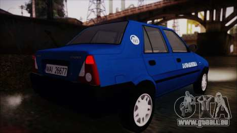 Dacia Solenza Jandarmeria pour GTA San Andreas laissé vue