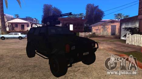 Komatsu LAV 4x4 with Vulcan Gatling Gun für GTA San Andreas zurück linke Ansicht