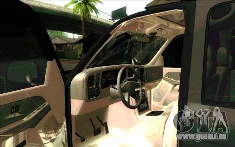 Chevrolet Suburban de FSB pour GTA San Andreas laissé vue