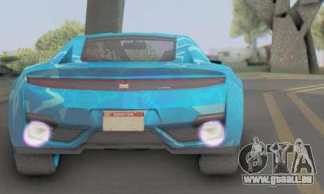 Dinka Jester (GTA V) Blue Star Edition pour GTA San Andreas sur la vue arrière gauche