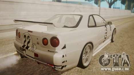 Nissan Skyline R34 FnF 4 v1.1 für GTA San Andreas Innen