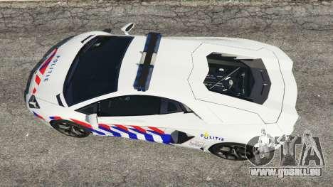 GTA 5 Lamborghini Aventador LP700-4 Dutch Police v5.5 Rückansicht