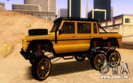 Bienfaiteur Dubsta 6x6 Custom Tuning pour GTA San Andreas laissé vue