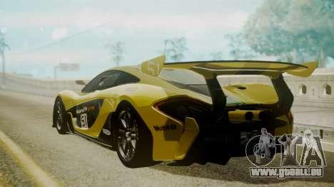 McLaren P1 GTR 2015 Yellow-Green Livery pour GTA San Andreas laissé vue