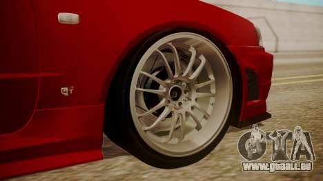 Nissan Skyline R34 FnF 4 v1.1 pour GTA San Andreas sur la vue arrière gauche