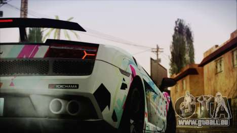 Lamborghini Gallardo LP570-4 2015 Miku Racing 4K für GTA San Andreas zurück linke Ansicht