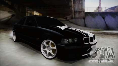 BMW M3 E36 Good and Evil pour GTA San Andreas sur la vue arrière gauche