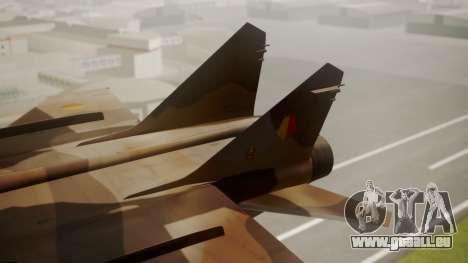 Mikoyan MiG-31 Yuktobanian Air Force für GTA San Andreas zurück linke Ansicht