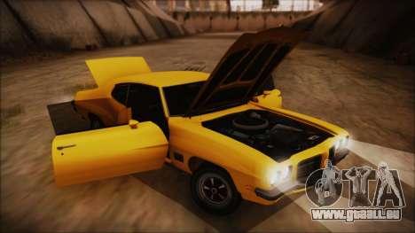 Pontiac Lemans Hardtop Coupe 1971 IVF АПП pour GTA San Andreas vue arrière