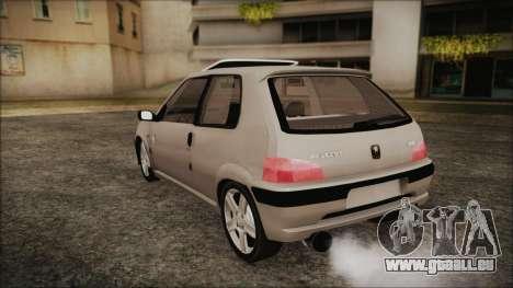 Peugeot 106 pour GTA San Andreas laissé vue