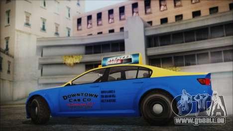 Cheval Fugitive Downtown Cab Co. Taxi für GTA San Andreas zurück linke Ansicht
