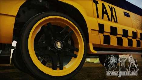 Albany Cavalcade Taxi (Hotwheel Cast Style) für GTA San Andreas zurück linke Ansicht