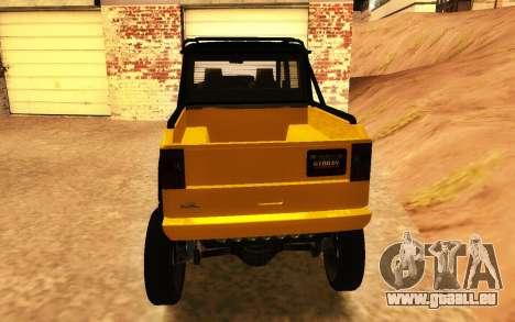 Wohltäter Dubsta 6x6 Custom Tuning für GTA San Andreas zurück linke Ansicht