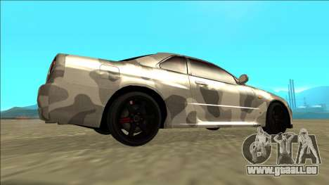 Nissan Skyline R34 Army Drift pour GTA San Andreas sur la vue arrière gauche