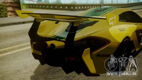 McLaren P1 GTR 2015 Yellow-Green Livery pour GTA San Andreas vue arrière