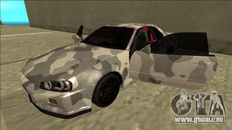 Nissan Skyline R34 Army Drift pour GTA San Andreas vue de côté