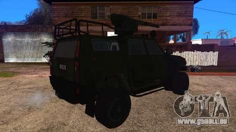 Komatsu LAV 4x4 with Vulcan Gatling Gun pour GTA San Andreas laissé vue