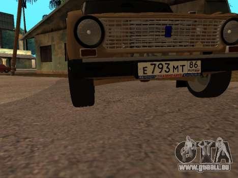 Vaz 2101 V1 pour GTA San Andreas vue de dessous