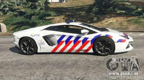 GTA 5 Lamborghini Aventador LP700-4 Dutch Police v5.5 linke Seitenansicht