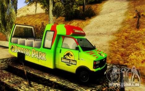 Jurassic Park Tour Bus für GTA San Andreas zurück linke Ansicht