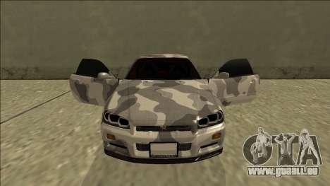 Nissan Skyline R34 Army Drift für GTA San Andreas obere Ansicht