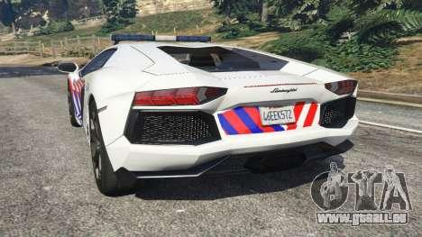 GTA 5 Lamborghini Aventador LP700-4 Dutch Police v5.5 hinten links Seitenansicht