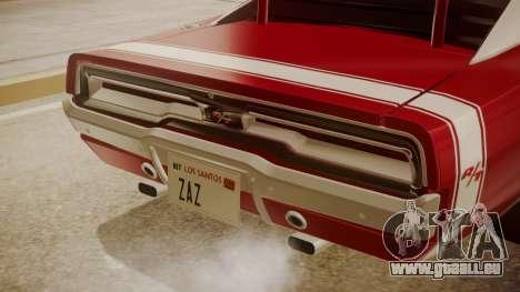Dodge Charger O Death RT 1969 für GTA San Andreas Rückansicht