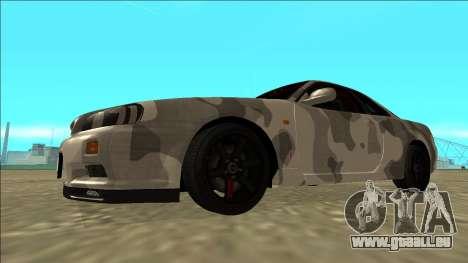Nissan Skyline R34 Army Drift pour GTA San Andreas laissé vue