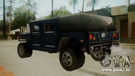Patriot III pour GTA San Andreas sur la vue arrière gauche