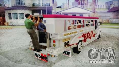 Hataw Motor Works Jeepney pour GTA San Andreas sur la vue arrière gauche