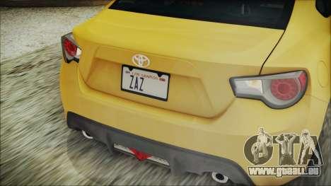Toyota GT86 (ZN6) 2012 HD Algeria PJ für GTA San Andreas obere Ansicht