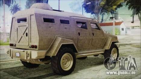 GTA 5 HVY Insurgent Van pour GTA San Andreas laissé vue