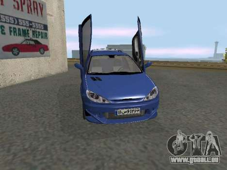 Pegeout 206 PickUP pour GTA San Andreas laissé vue