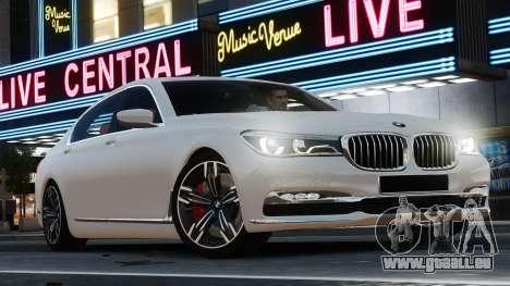 BMW 7-er 2016 pour GTA 4 est une gauche