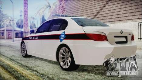 BMW M5 E60 Bosnian Police pour GTA San Andreas laissé vue