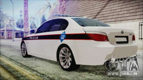 BMW M5 E60 Bosnian Police für GTA San Andreas linke Ansicht
