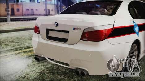 BMW M5 E60 Bosnian Police pour GTA San Andreas vue arrière